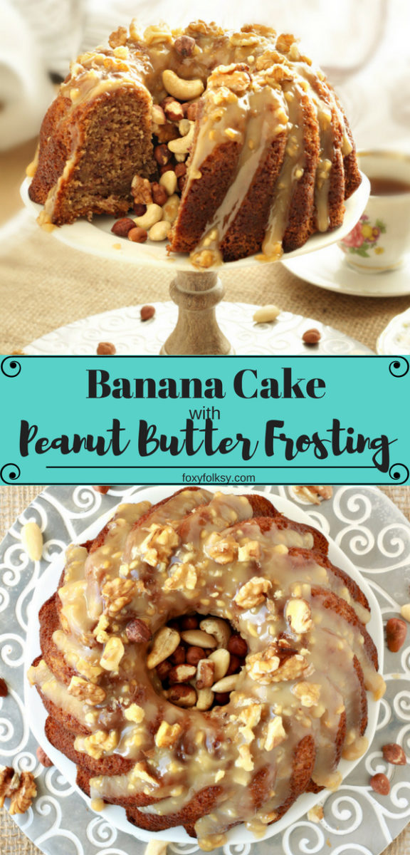 Try this easy Banana Cake with Peanut Butter Frosting, topped with nuts. So moist and bursting with natural sweet banana flavors. | www.foxyfolksy.com #recipe #baking #cake #banana #peanutbutter #frosting