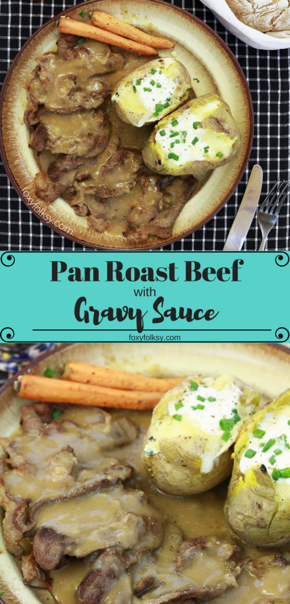 Try this quick and easy Roast Beef Recipe, only cooked in a pan. The result is so yummy and the beef is so tender. |www.foxyfolksy.com #recipe #roastbeef #gravy #dinner #lunch #quick #easy