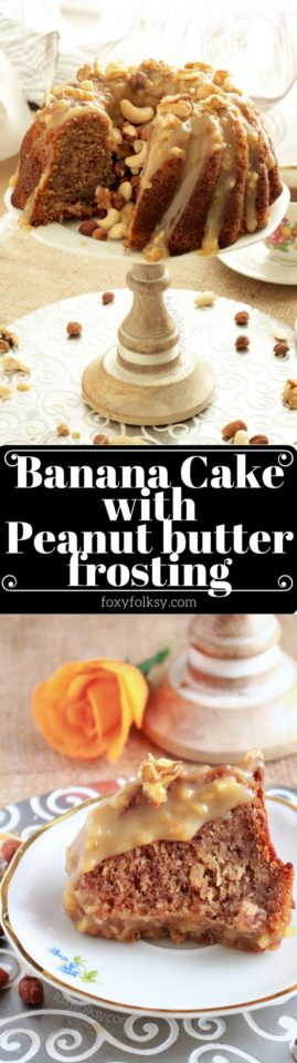 Soft and moist Banana Cake with peanut butter frosting. Simply a must try! | www.foxyfolksy.com