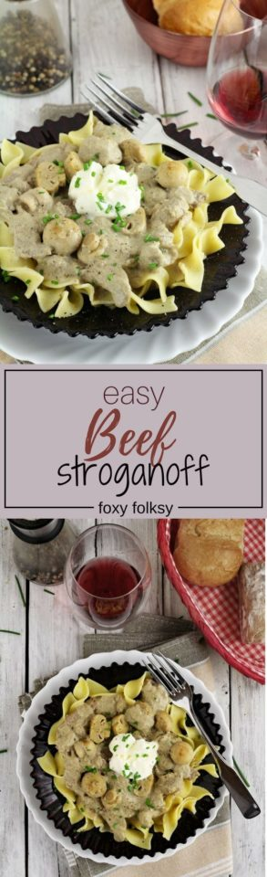 An all-in-one meal perfect for dinner or for any special occasions. This is a very simple and easy recipe for a really creamy Beef Stroganoff.   www.foxyfolksy.com