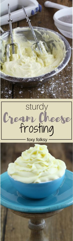 Try this quick and easy recipe for sturdy cream cheese frosting.   www.foxyfolksy.com