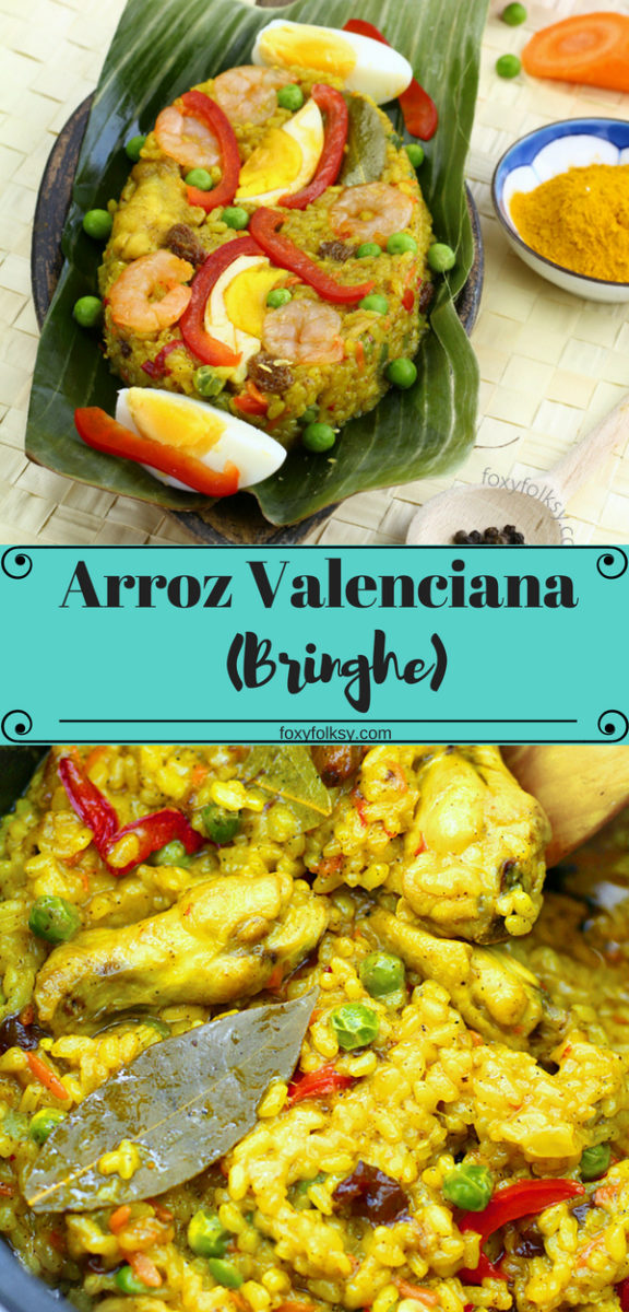 Get this really easy and quick recipe of the Filipino version of Arroz Valenciana or Bringhe. It is commonly a favorite dish at Fiesta`s, holidays, family gathering, Christmas and other occasions. Cooked with glutinous rice in coconut milk and seasoned with Turmeric. | www.foxyfolksy.com #recipe #asianfood #filipinofood #chicken #coconutmilk #tumeric