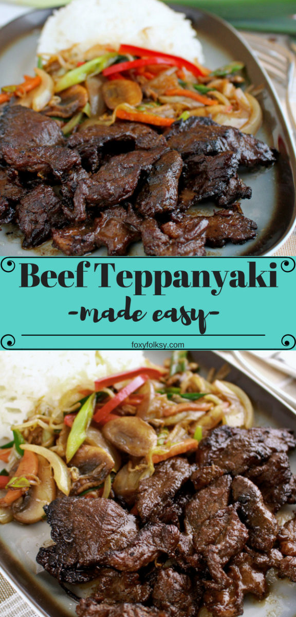 Try this really simple and easy to cook Japanese delicacy. This recipe will show you, how to cook it in a pan or skillet (without the teppan - flat iron plate). | www.foxyfolksy.com #recipe #asianfood #japanesefood #beef