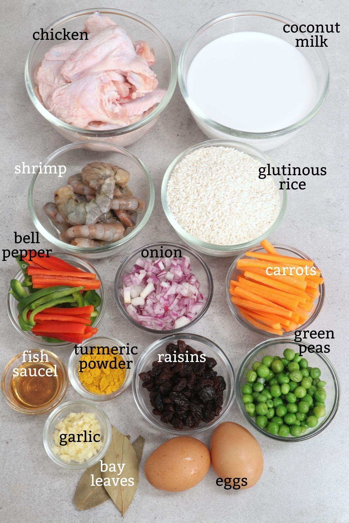 Ingredients for Arroz Valenciana