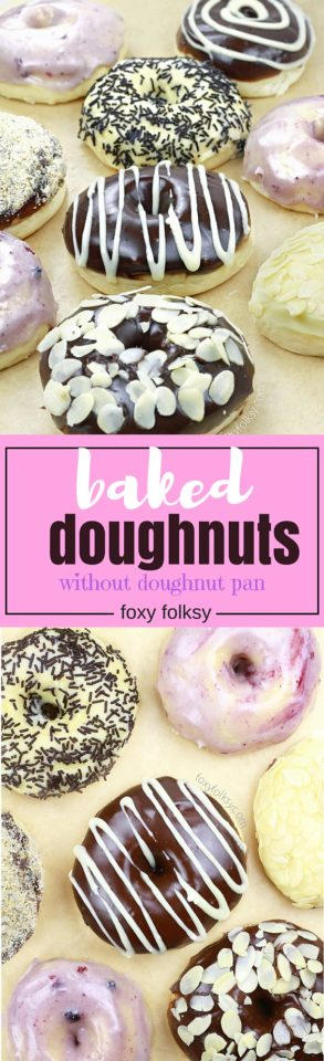 This soft and chewy baked doughnuts use yeast to rise and are baked without using doughnut pan. A healthier version than the deep fried doughnuts that you will surely love. | www.foxyfolksy.com