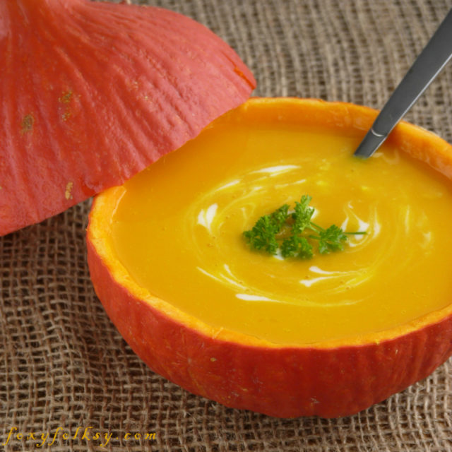 This recipe makes a thick, smooth and creamy pumpkin soup. Popular at Thanksgiving but with by adding heart designs, and you have a perfect soup for Valentine's dinner as well. | www.foxyfolsy.com