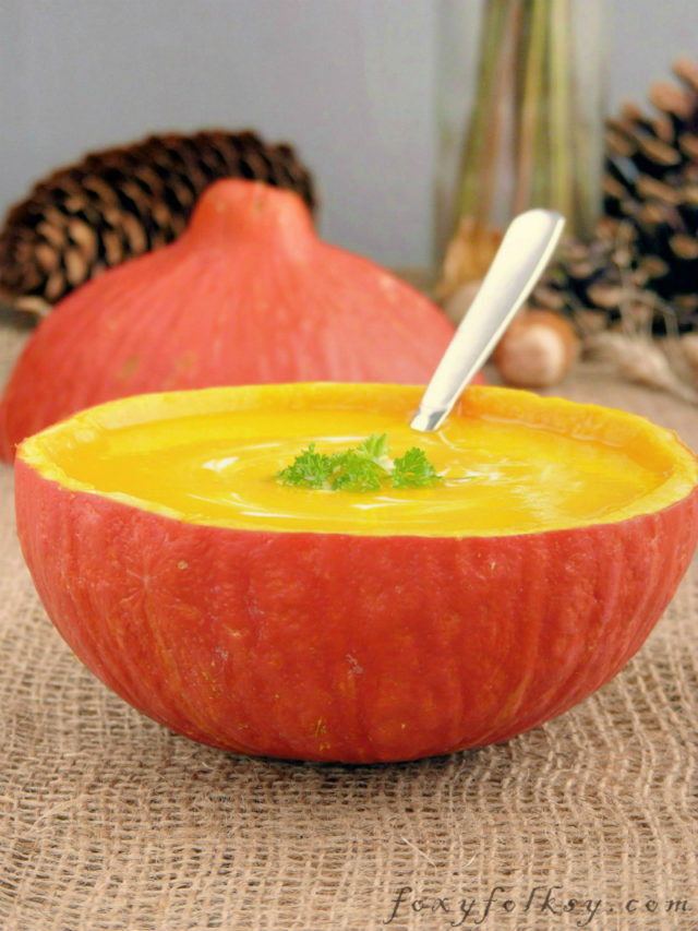 This recipe makes a thick, smooth and creamy pumpkin soup. Popular at Thanksgiving but with by adding heart designs, and you have a perfect soup for Valentine's dinner as well.   www.foxyfolsy.com