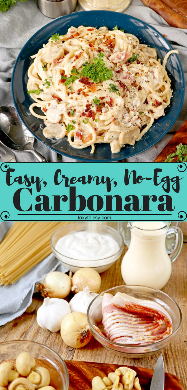 Get this eggless yet deliciously rich and creamy, easy Carbonara recipe that is done in no time at all! Perfect for a quick dinner for people on the go! | www.foxyfolksy.com #pasta #italian #dinner #easyrecipe