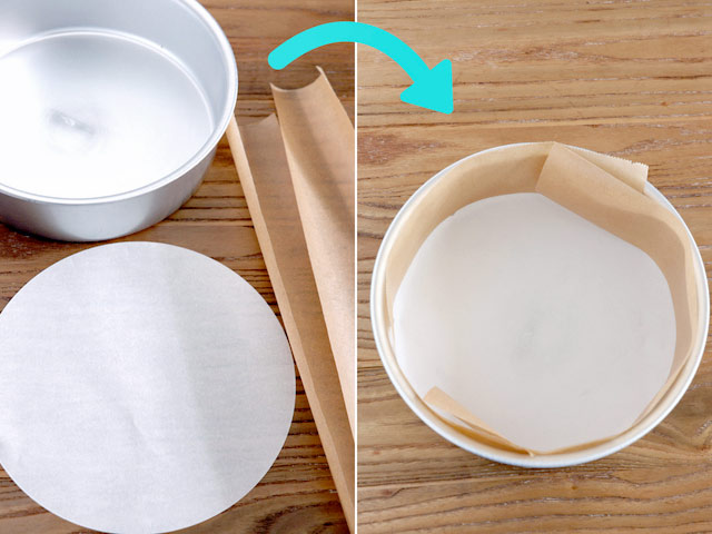 How to line a round pan.