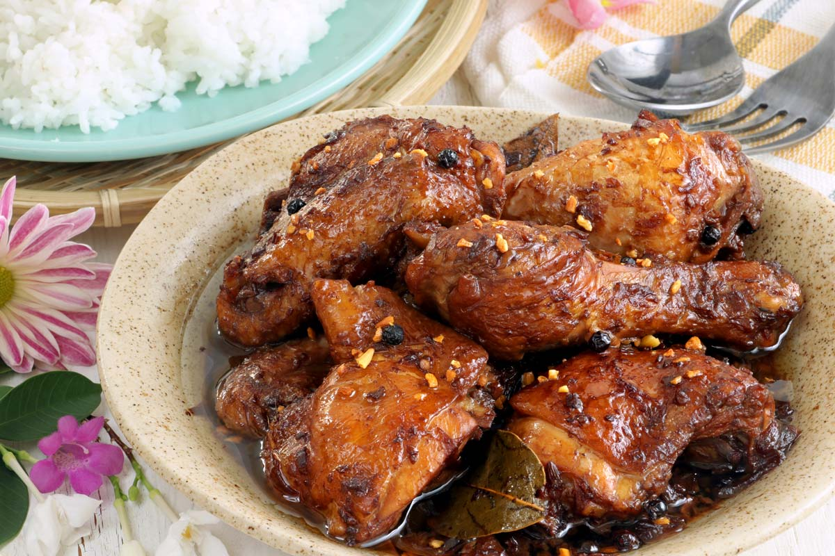 Adobong manok, or chicken Adobo with toasted garlic.