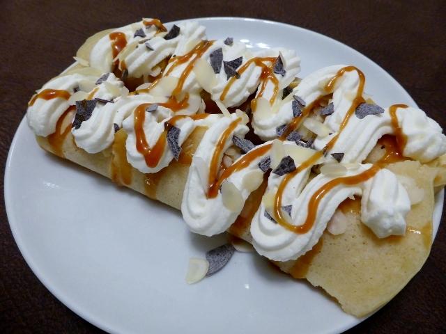 Banana Crepes with Choco-caramel SauceFoxy Folksy