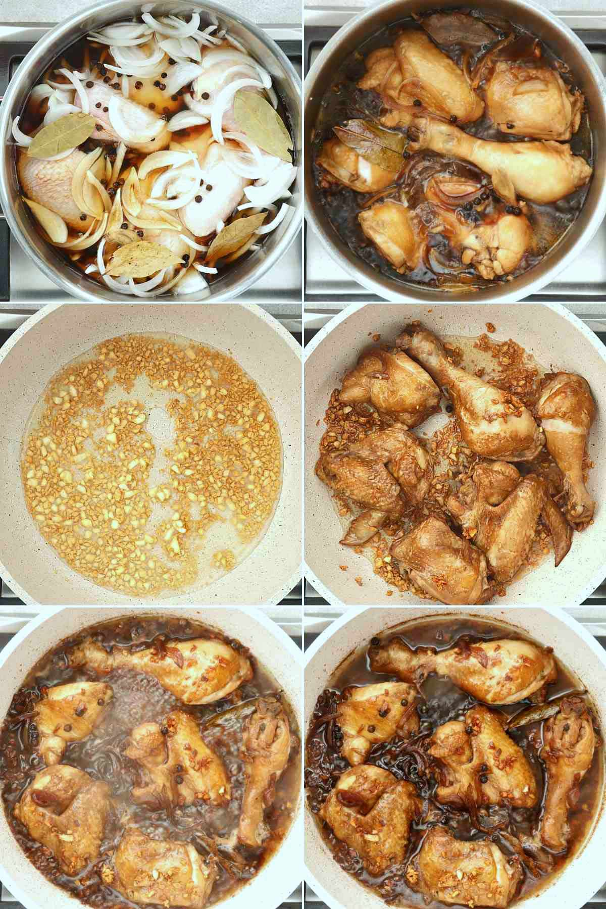 Step-by-step procedure for cooking Chicken Adobo.