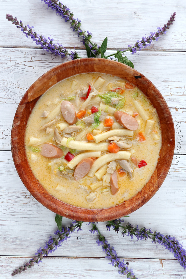 Try this delicious and hearty Sopas recipe (Filipino Chicken Noodle Soup) that will surely keep you warm and fit for the cold and rainy days! | www.foxyfolksy.com