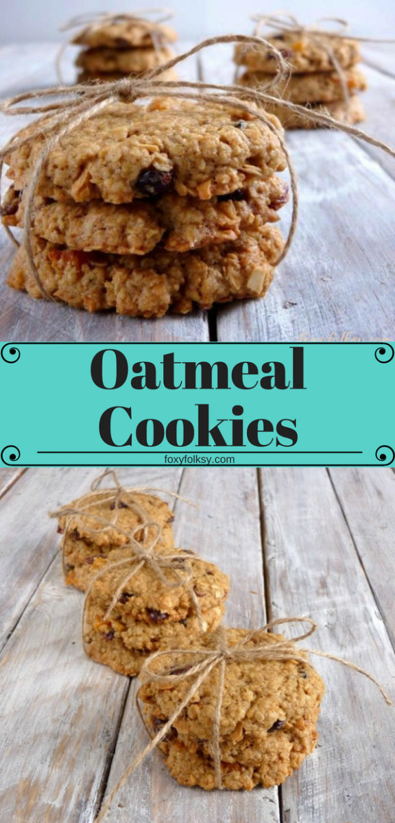 Get this simple Oatmeal Cookie recipe with only six ingredients. These crunchy and chewy Oatmeal Raisin Cookies are loaded with raisins, nuts and oats. | www.foxyfolksy.com #recipe #baking #cookies #oatmeal #raisins #oats