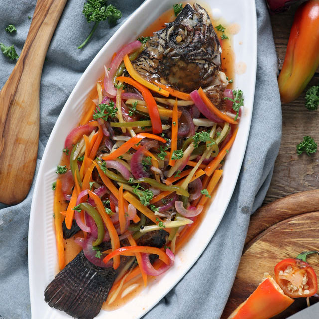 Make this colorful, tangy-sweet Filipino Escabeche or Sweet and Sour Fish and bring your plain fried fish to the next level of goodness. | www.foxyfolksy.com #fish #filipinorecipe #filipinofood #escabeche