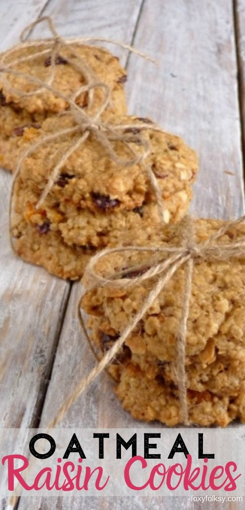 Get this simple Oatmeal Cookie recipe with only six ingredients. These crunchy and chewy Oatmeal Raisin Cookies are loaded with raisins, nuts and oats.   www.foxyfolksy.com #recipe #baking #cookies #oatmeal #raisins #oats #foxyfolksy