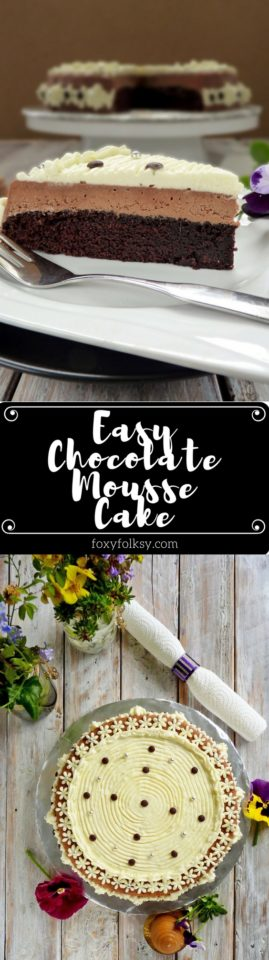 Try this easy chocolate mousse cake recipe. Deliciously light and creamy! | www.foxyfolksy.com