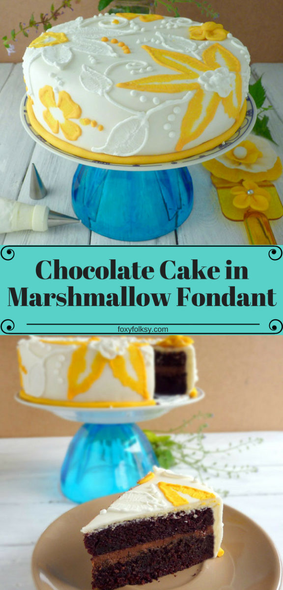This is a very moist and yummy chocolate cake with chocolate ganache filling and covered with a marshmallow fondant. I love the combination of chocolate ganache and marshmallow fondant because it is not too sweet like other fondant cakes. | www.foxyfolksy.com #recipe #baking #chocolate #cake #fondant #moist #ganache #foxyfolksy