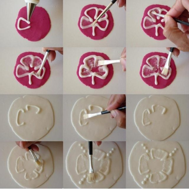 how to make fondant brush embroidery