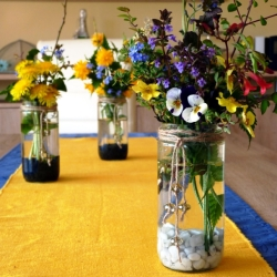 Rustic Flower Vases from Mason Jars