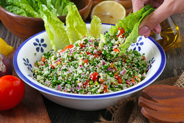 Tabbouleh or Tabouli with romain lettuce