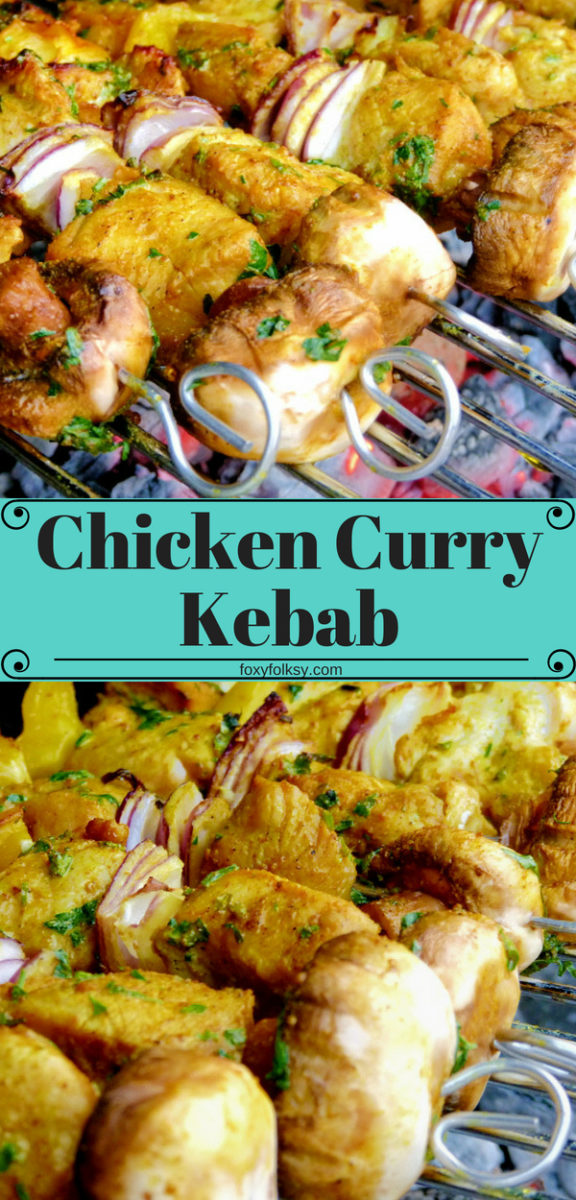 Try this quick and easy to prepare chicken kebab recipe, perfect addition to your barbecue parties. So flavorful and savory with curry, chili pepper and other herbs and spices. | www.foxyfolksy.com #recipe #bbq #barbecue #curry #chicken #kebab