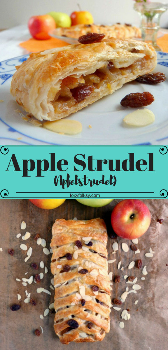 It is easy and can be done really quickly especially if you have a roll of puff pastry sheet lying around in your fridge. Try this easy and delicious recipe for apple strudel that is done in a few minutes. Tart apples, raisins, nuts and cinnamon baked in a light, flaky, crispy puff pastry. | www.foxyfolksy.com #recipe #baking #austrianfood #dessert #apples #cinnamon #pastry #crispy #foxyfolksy