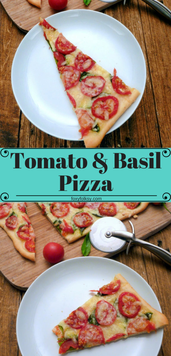 Make this simple and meatless, classic fresh pizza with only four basic ingredients. Tomato, basil, olive oil and cheese on top of a homemade thin crust pizza dough!  | www.foxyfolksy.com #recipe #pizza #basil #tomatoes #easy #quick #simple #italianfood #foxyfolksy