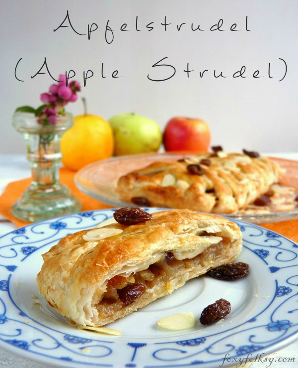Try this easy recipe for apple strudel that is done in a few minutes. Tart apples, raisins, nuts and cinnamon baked in a light, flaky, crispy puff pastry. | www.foxyfolksy.com
