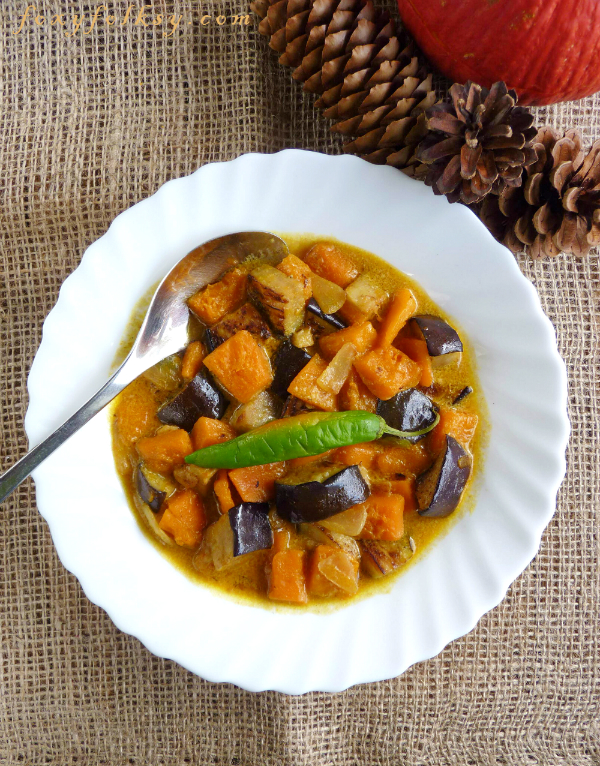 Squash and eggplants are first sauteed and then cooked in coconut milk. Really easy and quick way to cook something healthy. | www.foxyfolksy.com