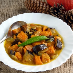 Squash and Eggplant in Coconut Milk