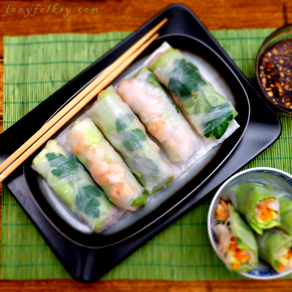 Cool, refreshing and healthy! Vietnamese Spring Rolls are easier to make than you think.Choose between ginger-soy sauce or hoisin-peanut sauces dip or both! | www.foxyfolksy.com