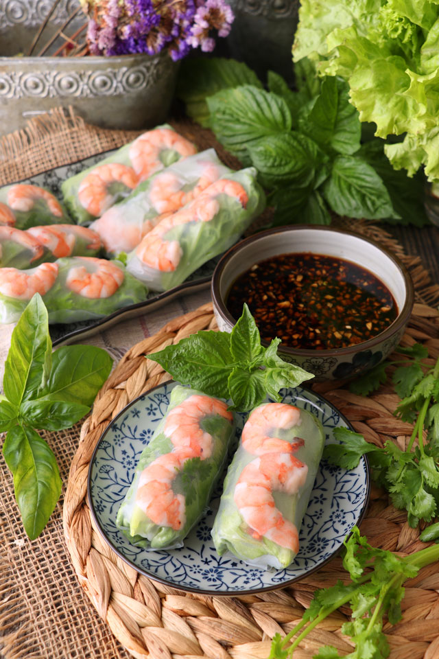 Vietnamese Spring Rolls served with a vinegar-soy sauce dip