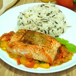 Pan seared Salmon with Tomato-Basil Sauce