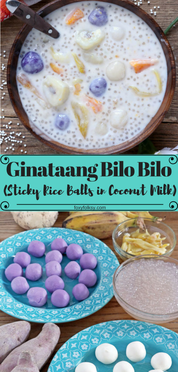 Ginataan or Bilo Bilo is a hearty Filipino treat with thick sweet coconut milk and lots of banana, sweet potatoes, jackfruit and tapioca pearls,  that can be eaten for breakfast, snack or even as a dessert. | www.foxyfolksy.com #coconut #filipinofood #filipinorecipe #dessert #snack #breakfast