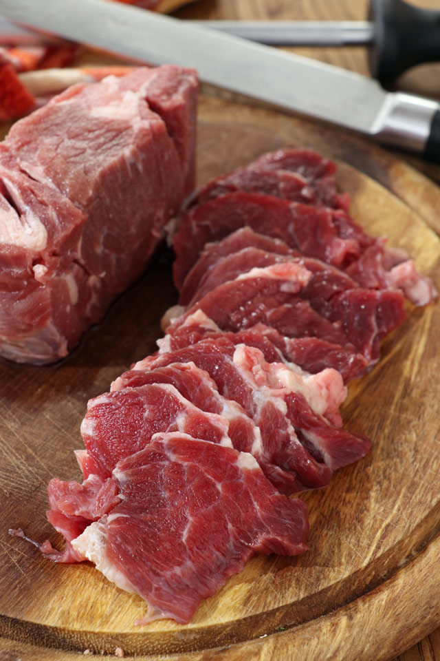 beef cut into thin slices