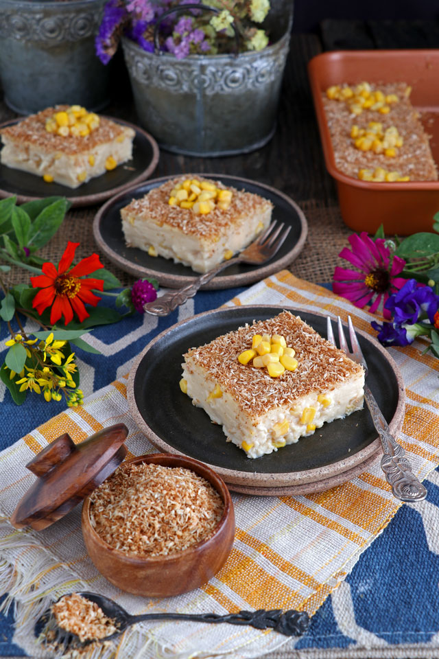 Maja Blanca served with toasted coconut flakes