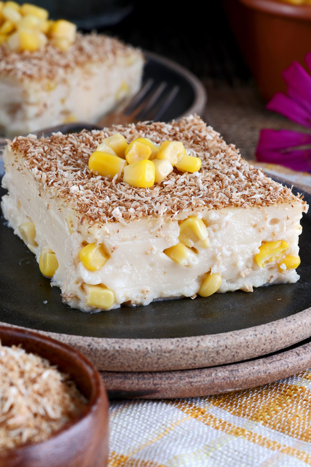 Maja Blanca Recipe - Coconut milk pudding with corn kernel and roasted coconut flakes toppings
