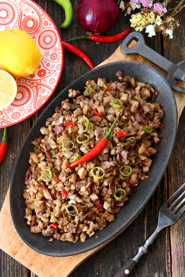 Pork Sisig served on a sizzling plate