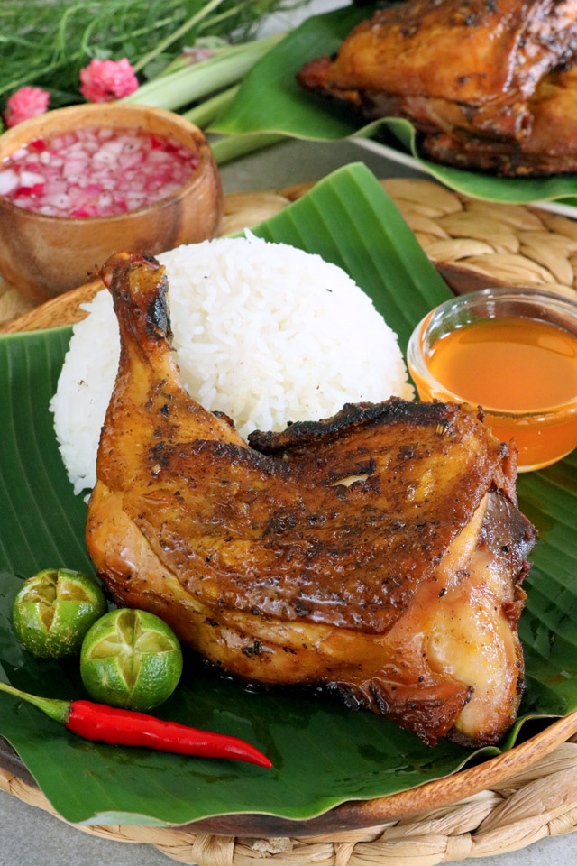 Chicken Inasal freshly grilled with rice and chicken annatto oil sauce