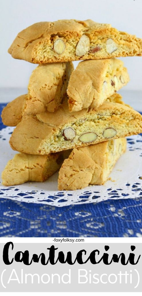 Try this easy and simple recipe for Cantuccini or almond biscotti, a wonderful Italian cookie that is baked twice making them hard, dunk in wine or coffee.   www.foxyfolksy.com #recipe #baking #italianfood #foxyfolksy #cookie
