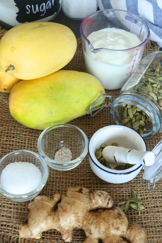 Mangoes, ginger, yogurt, cardamom, sugar, and salt.