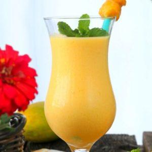 Refreshing mango lassi in a glass
