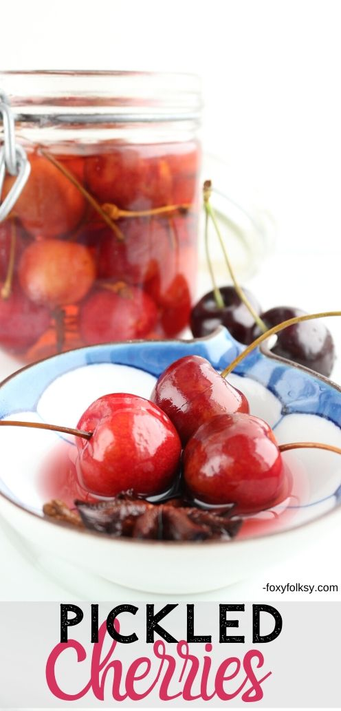 These pickled cherries are just simply and surprisingly amazing-sweet, tangy and perfectly spiced! The process and ingredients involved are really so simple. | www.foxyfolksy.com #recipe #foxyfolksy #cherries
