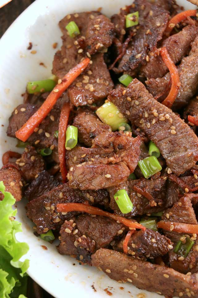 Beef Bulgogi with carrots and green onions