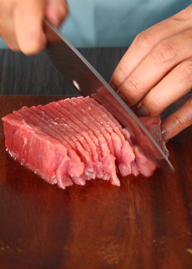 Frozen beef sliced thinly