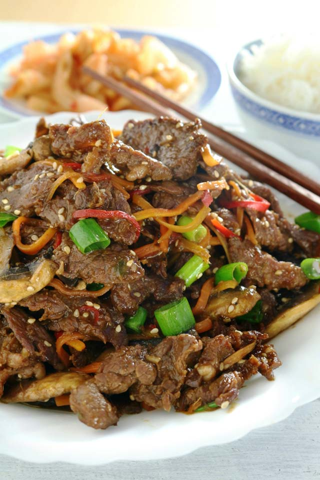 Beef Bulgogi with carrots, mushrooms and bell pepper
