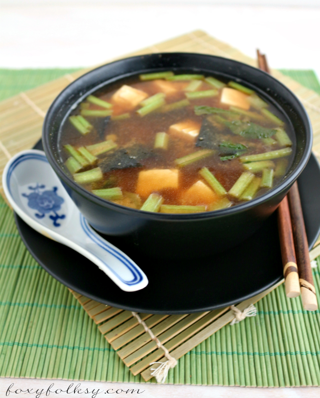 Try this simple and easy miso soup recipe with soft tofu, greens, and tamarind. Great way to keep you warm on cold days.   www.foxyfolksy.com