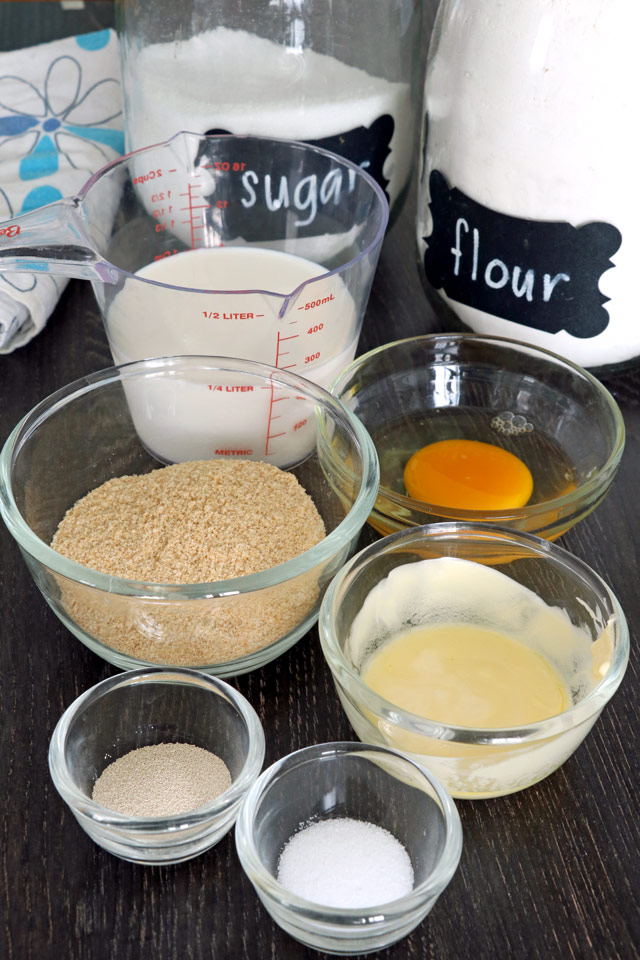 Pandesal Ingredients: flour, eggs, yeast, sugar, salt milk, breadcrumbs