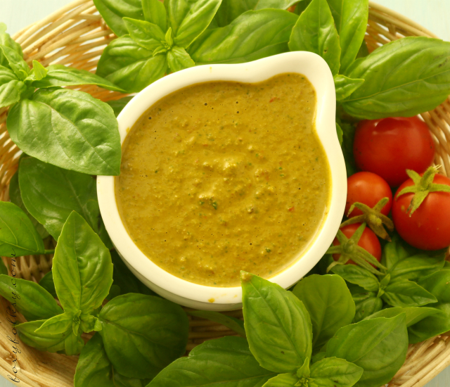 Try this easy recipe for fresh tomato and basil pesto. perfect as dip or sauce for pasta or even as a spread for your favorite bread. | www.foxyfolksy.com